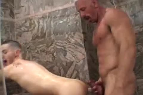 Muscled daddy with gigantic mustache plows raunchy chap