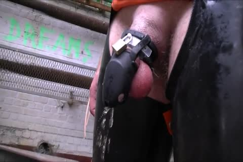 Cb Locked villein Pissing And Playing With sex toy