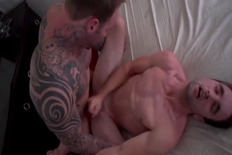 Pierced tattooed hunk and excited twink coarse butt banging