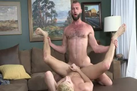 Bushy Stepdad Barebacks His Blond Stepson
